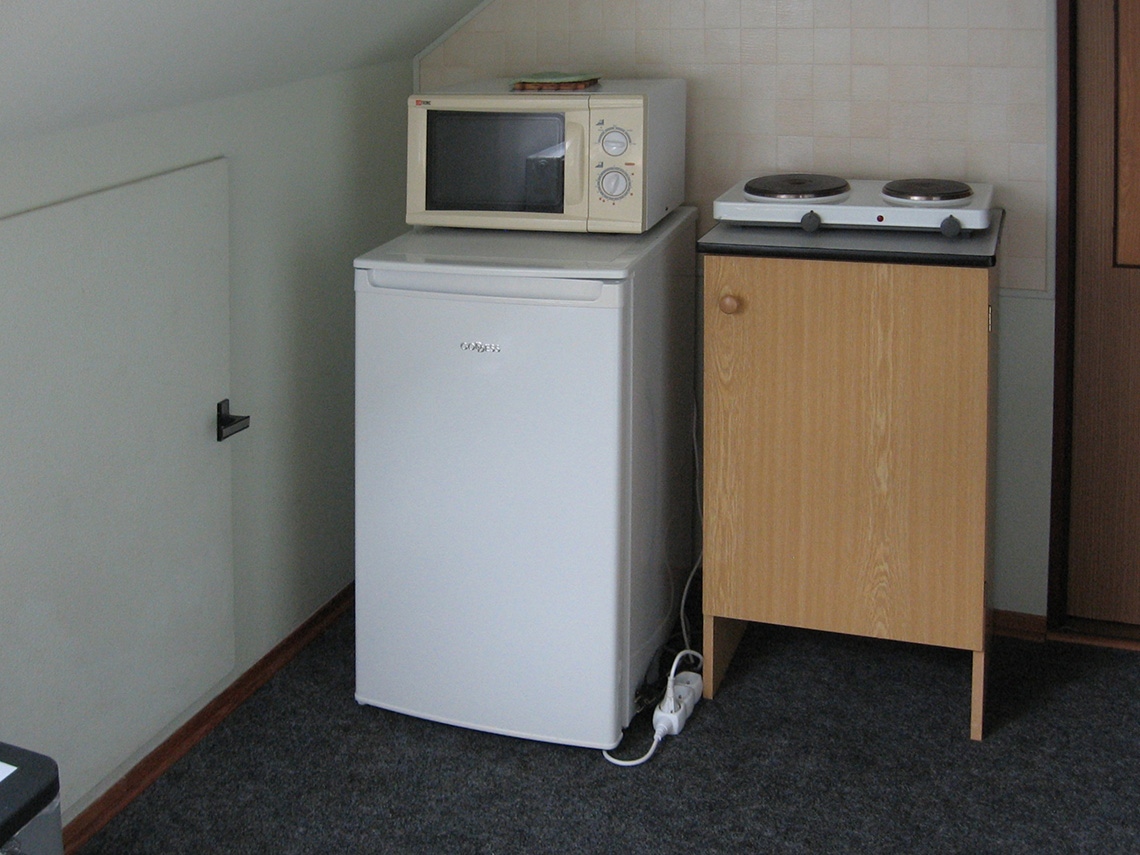 Kitchenette with a Fridge and Microwave Oven